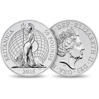 2015 £50 SILVER COIN BRITANNIA FIFTY POUNDS BRILLIANTLY UNCIRCULATED b