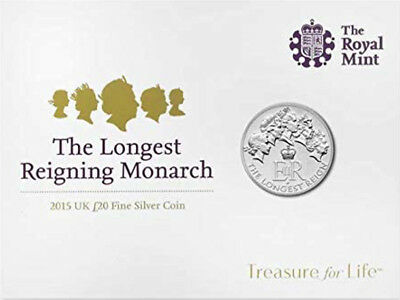 2015 £20 SILVER COIN LONGEST REIGN TWENTY POUNDS BRILLIANTLY UNCIRCULATED b