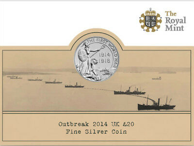 2014 £20 SILVER COIN OUTBREAK WWI 100 TWENTY POUNDS BRILLIANTLY UNCIRCULATED b