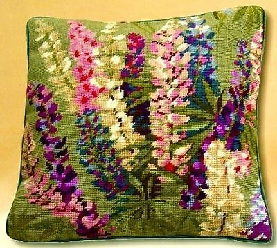 Trammed Tapestry/Needlepoint Kit - Lupin Spray Cushion (Lupinus)