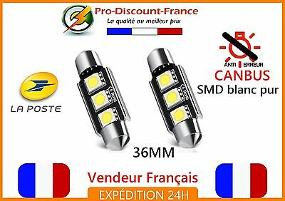 2 x NAVETTE LED SMD 36mm BLANC XENON 12V VOITURE CANBUS ANTI ERREUR AMPOULE