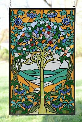 """20"""" x 34"""" Large Handcrafted stained glass window panel Tree of Life"""