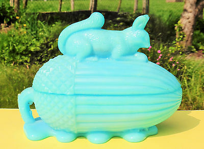 Rare French Portieux Vallerysthal Blue Milk Glass Squirrel on Acorn Covered Dish