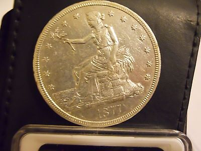 1877-S AU Details Trade Silver Dollar Type Coin Cleaned Scratch. Very Nice