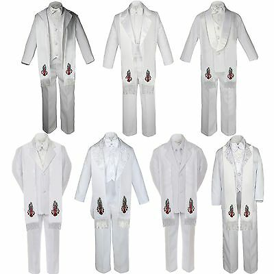 6pc Baby Toddler Boy Guadalupe Communion Baptism White 7 SUIT TUXEDO Style Stole