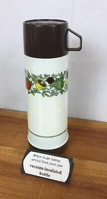 1970s Vintage Aladdin Mushroom Tomatoes Peppers Pint Size Plastic Thermos