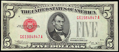 1928-D $5 Five Dollar Bill US Currency, AU, 1928C Red Seal United States Note