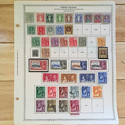 F49 Virgin Islands Stamps 1866-1972 Minkus hinged pages War Tax British Crowns