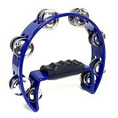 Tambourine Blue Hand Held with Double Metal Jingles Percussion Church Band L3