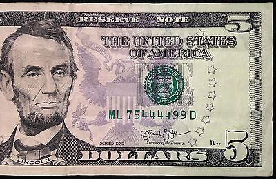 2013 $5 Five Dollar Bill US Currency, Cool 444499 Serial Number: 75444499, FRB L