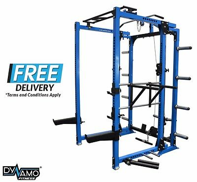 Squat Rack Power Cage FOLDING 400KG RATING with Lat Pull Down / Row Attachment