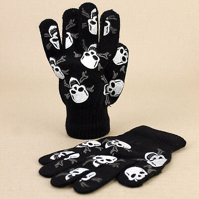Boys Kids Black Knitted Skull Crossbones Jolly Roger Skeleton Gloves 8-10yrs