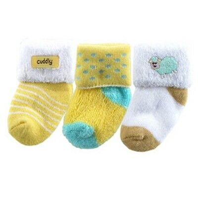 3  x Unisex Cotton Terry Newborn Baby Socks with Appliques 0-3months BRAND NEW