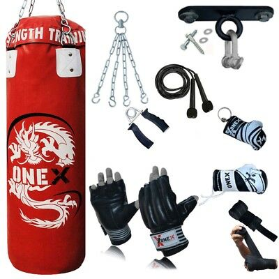 MMA 15 Piece Boxing Set 3ft Filled Heavy Punch Bag Gloves,Chains,Hook,Kick Pad