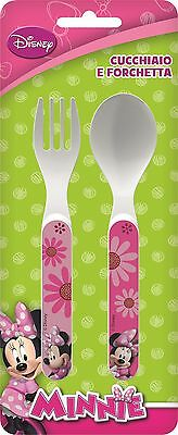 Minnie Mouse | Pink | Flowers 2pc Mealtime Plastic Cutlery Set | Fork and Spoon