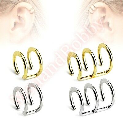 Non Piercing Cartilage Clip On Ear Ring CHOOSE SINGLE OR PAIR