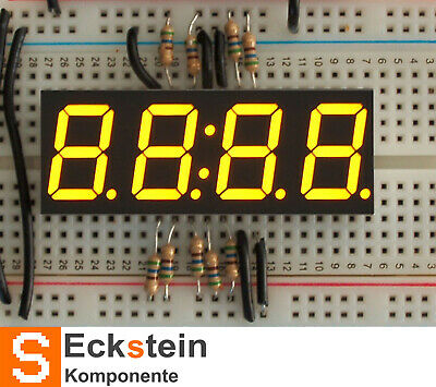 "Yellow 7-segment clock display - 0.56"" digit height AF811"