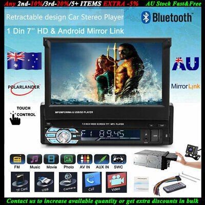 """1 Din Single 7"""" HD Flip out Touch Screen Bluetooth Car Radio MP5 Player Stereo"""