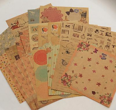 20 sheet assorted vintage floral elegant Kraft paper craft scrapbook 145x145mm B