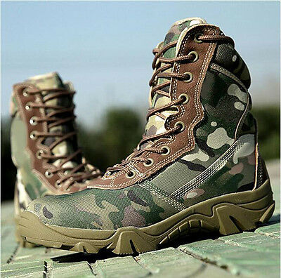 7437 Men's Combat boots Tactical Camouflage High-top Flat Ankle Waterproof Shoes