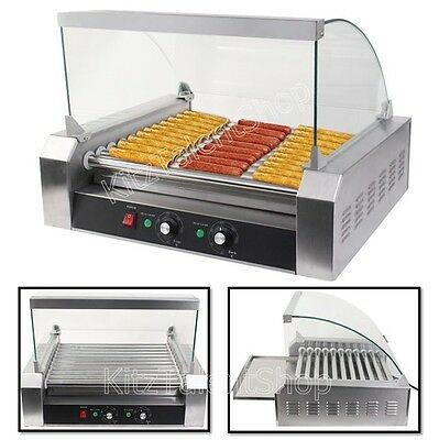 Commercial Hot Dog Hotdog 11 Roller Machine Grill Cooker 1200W Countertop -Cover