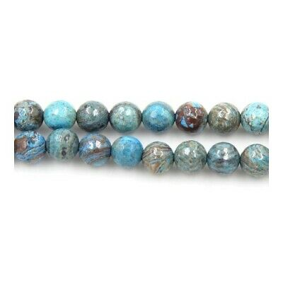 Strand of 60+ Cyan/Brown Calsilica Jasper 6mm Faceted Round Beads Y02255