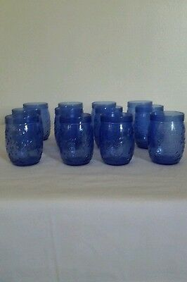 Blue Floral Decor Fancy Drinking Glasses/Cups- 12 count