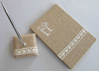 HESSIAN BURLAP LACE PEN (only) 4 WEDDING ENGAGEMENT GUEST BOOK  BIRTHDAY