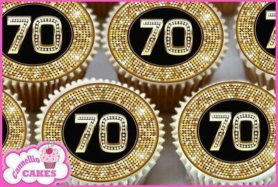 EDIBLE ICING SHEET - 24 x 70TH BIRTHDAY BLACK & GOLD CUPCAKE TOPPERS CAKE 8406