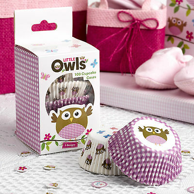 100 CUPCAKE CASES Pink LITTLE OWLS Girl Baby Shower Christening Birthday Party