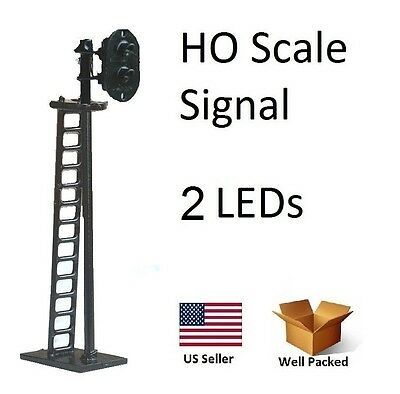 1 New HO Scale Model Train Railroad Trackside Signal w/2 LED lights R/G
