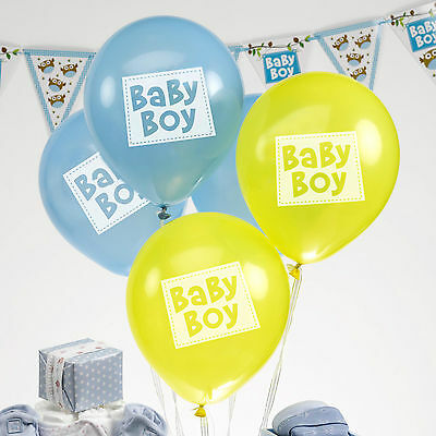 8 LITTLE OWLS BALLOONS Blue BABY BOY Christening Shower Naming Day Birthday