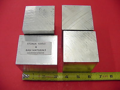 """4 Pieces 2-1/2"""" X 2-1/2"""" ALUMINUM 6061 SQUARE SOLID BAR 3"""" long T6511 Mill Stock"""
