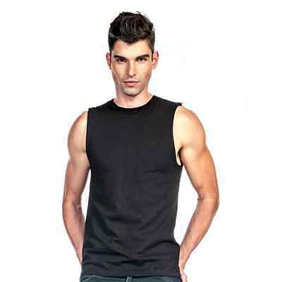 Mens Sleeveless Muscle Tee Cotton Solid Blank Tank T Shirt   Size  L-3XL
