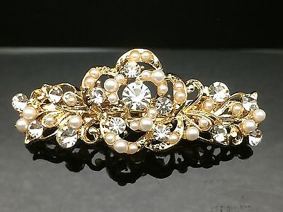 Formal Wedding Floral Pearl Crystal Diamante Hair Comb Clip Barrette 6.5cm Gold