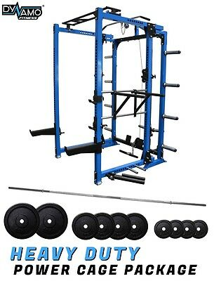 Squat Rack / Power Cage FOLDING Olympic Package 55KG For Home Gym 400kg Rating