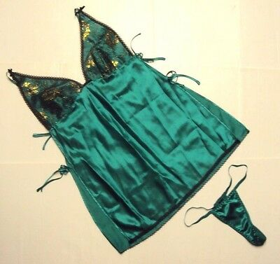 Dreamgirl Women Sexy Lace Overlay trim Toga Chemise And Tong Set Emerald Green S