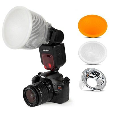 Universal Cloud Lambency Flash Diffuser+3 dome Covers Set for Flash Speedlite