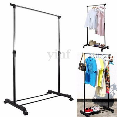 Adjustable Mobile Clothes Rail Coat Garment Hanging Rack Storage Stand On Wheels