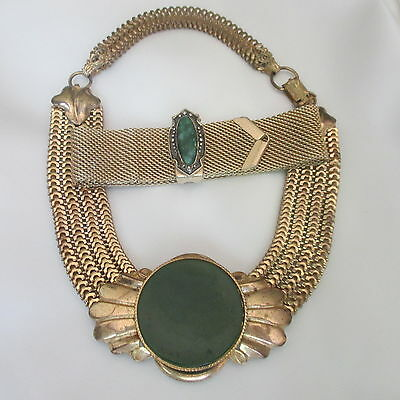 Vintage Sarah Coventry Gold Mesh Bracelet & Wide Gold CHOKER W Round Green Stone
