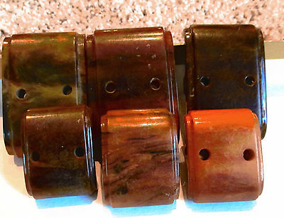 6 Vintage Rectagle Bakelite Brown Carmel Swirl Drawer Furniture Handles Pulls