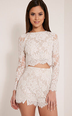 PrettyLittleThing Womens Crop Top Ladies Ellena White Lace Long Sleeve