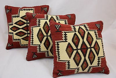 Vintage Turkish Kilim Pillow Rug Anatolian Pillows Cushion Covers Set of 3 Piece