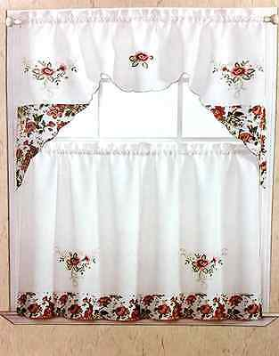 Positani Flower Embroidered Kitchen Curtain 3 Piece Set Window Valance & 2 Pane