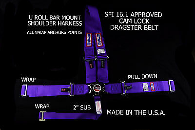 Rjs Racing Sfi 16.1 Cam Lock Dragster Harness U Roll Bar Purple 1029508