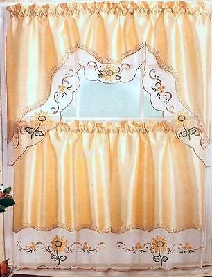 Sunflower Embroidered Kitchen Curtain 3 Piece Set Window Valance & 2 Panels