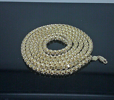 """10K Yellow Gold Byzantine Chain For Men's 24"""" Long #11.2# 4mm"""