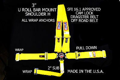 Rjs Racing Sfi 16.1 Cam Lock Dragster Harness U Roll Bar Yellow 1029506