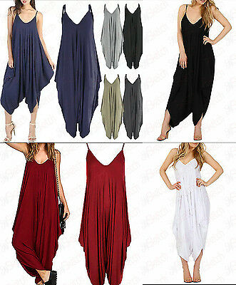 NEW Women's V-neck All In One Summer Beach Harem Jumpsuit Romper Playsuit Pants