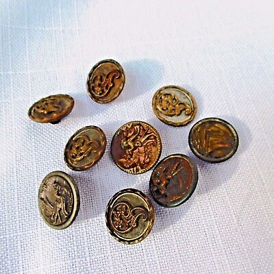 """9 Antique Metal Picture Sewing Buttons Flower, Man w Horn, Boat Pictorial 5/8"""""""